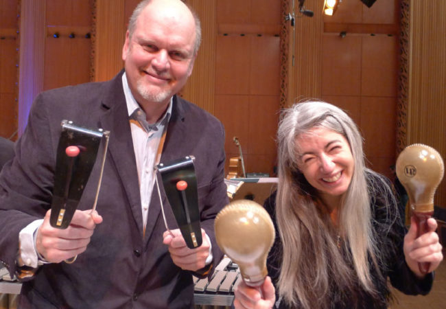 Michael Daugherty and Dame Evelyn Glennie at dress rehearsal of Daugherty's Dreamachine for solo percussion and orchestra on May 11, 2014.   WDR Rundunk Orchestra, Cologne, Germany.